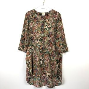 New Anthropologie Fig and Flower Paisley Tunic